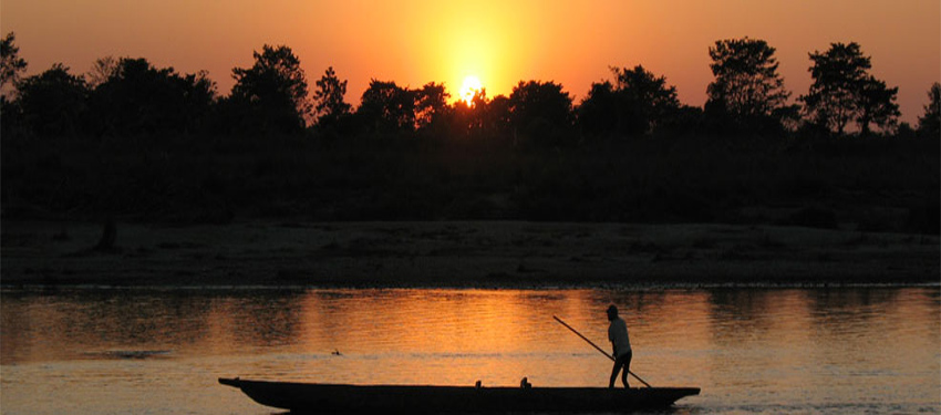 Beautiful sun set in chitwan